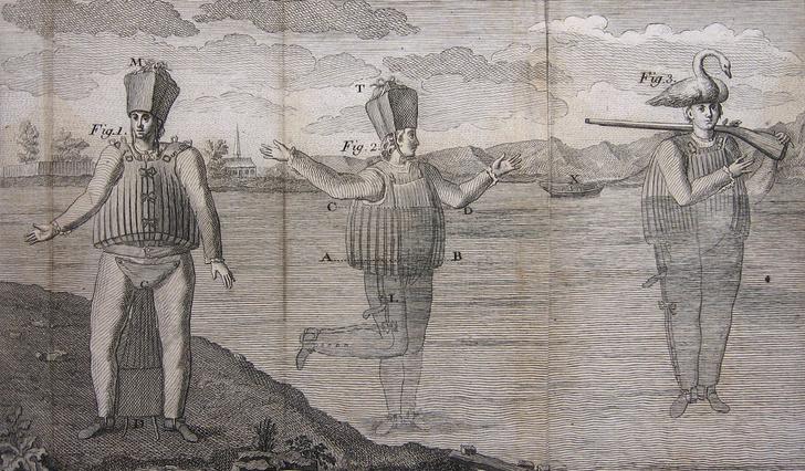 Гравюра изображает водолазный костюм Ла Шапеля (1775)