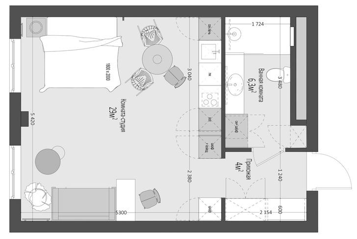 Фото №13 - Московская квартира 40 м² в стиле кинфолк