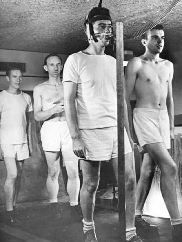 Участники эксперимента выполняют упражнения под присмотром врачей