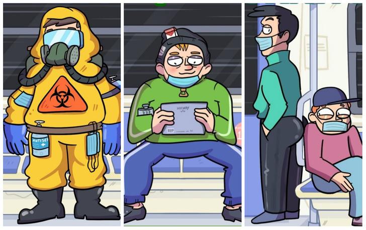 Фото №1 - 5 типов пассажиров ковидного метро: злободневный комикс от российского автора