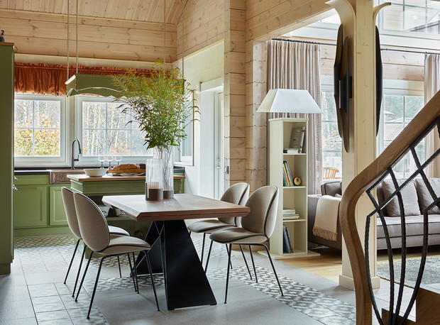 Фото №3 - Современный интерьер в деревянном доме в Подмосковье