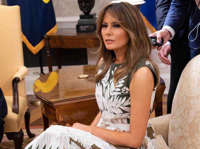 Фото №3 - Королева Летиция пришла на встречу с Меланией Трамп в платье Мелании Трамп