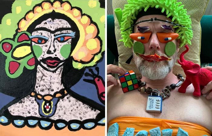Фото №1 - 30 примеров, как люди на карантине воссоздают авангардную живопись подручными средствами