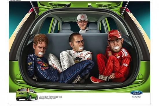 На другом постере Михаэль Шумахер избавляется от конкурентов