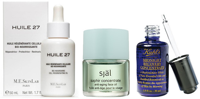 Saphir Concentrate, Själ; Huile 27, Cosmetics 27; Midnight Recovery Concentrate, Kiehl's