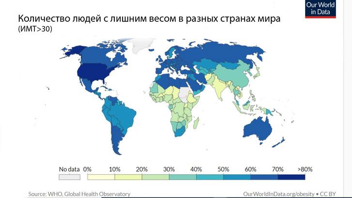 Фото №2 - Карта: Сколько людей с ожирением в разных странах мира