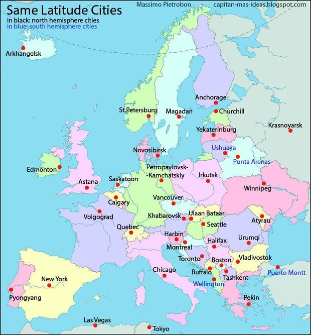 Фото №2 - Загадка дня: По какому принципу нанесены эти города на карту Европы?