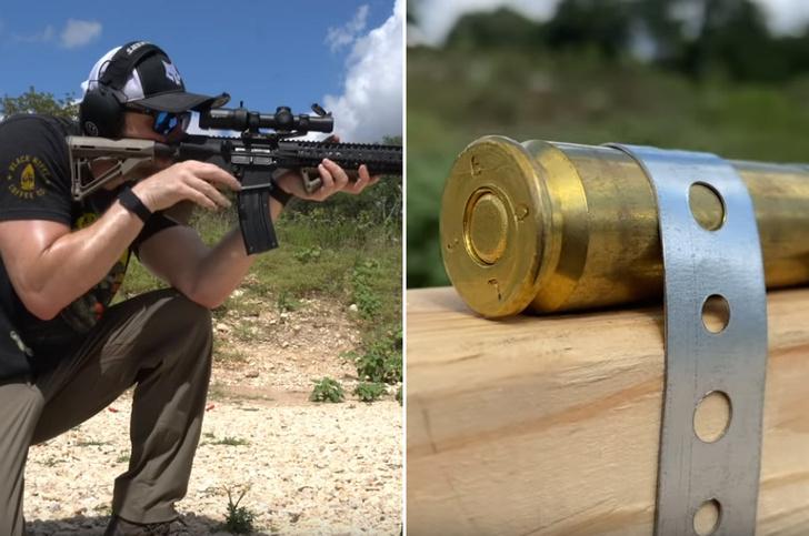 Фото №1 - Выстрелит ли крупнокалиберный патрон, если попасть в него пулей из мелкашки? (Видео)