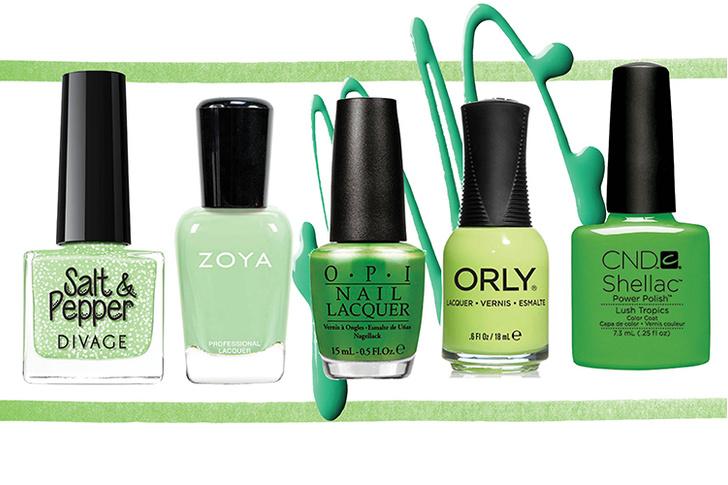 Лак для ногтей Salt & Peper, № 02, DIVAGE; лак для ногтей Tiana, Zoya; лак для ногтей My Gecko Does Tricks, O.P.I; лак для ногтей Key Lime Twist, Orly; лак для ногтей Shellak Lush Tropics, CND