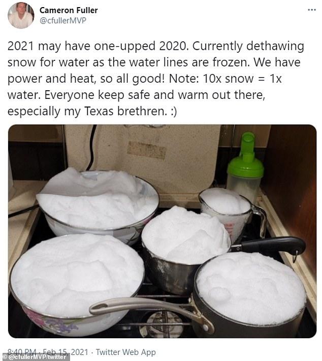 Фото №6 - Жители Техаса выкладывают в «Твиттер» фото, как они справляются с отсутствием в домах воды, света и тепла