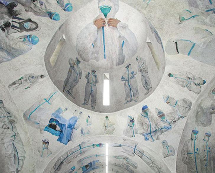 Фото №1 - Актуальное искусство: фреска «Святые носят белое» в храме провинции Хубэй (галерея)