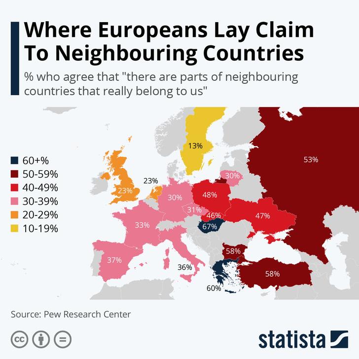 Фото №1 - Карта: какой процент жителей стран Европы согласен, что им должна принадлежать часть соседнего государства