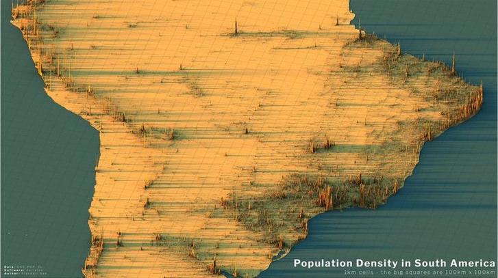 Фото №10 - Красивые трехмерные карты мира, показывающие распределение населения Земли