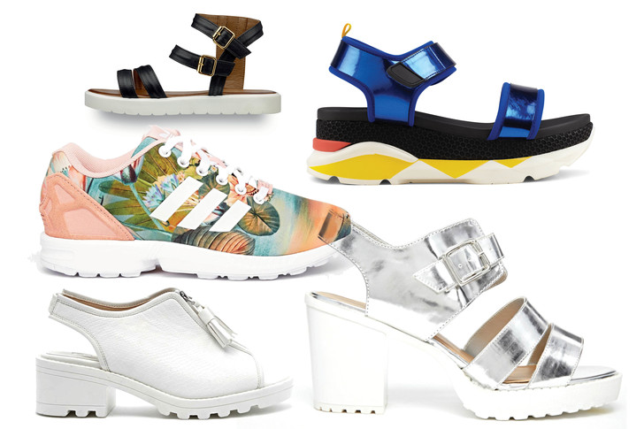 Сандалии, Tamaris; сандалии, Aldo; кроссовки, Adidas Originals; босоножки, River Island, 4 000 руб.; босоножки, New Look, 3 000 руб.