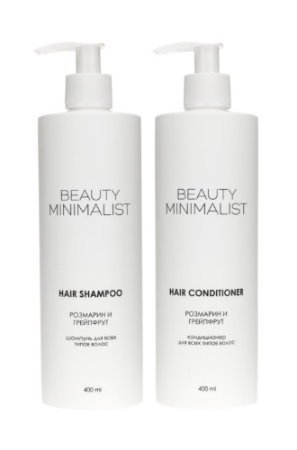 Шампунь и кондиционер для волос с розмарином и грейпфрутом от Beauty Minimalist