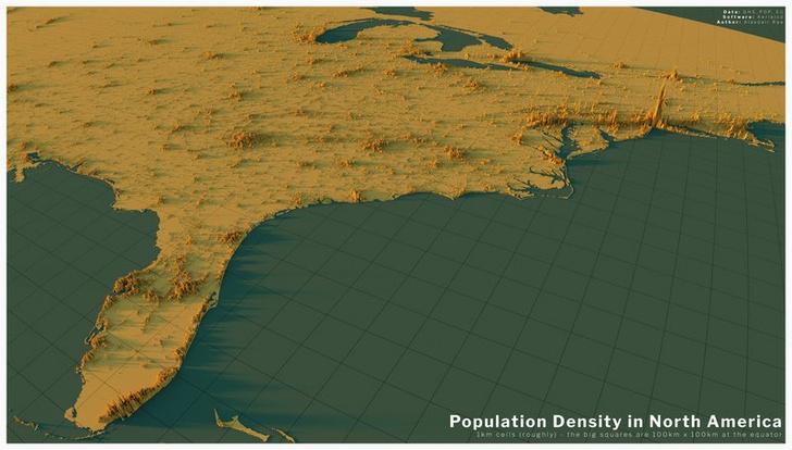 Фото №6 - Красивые трехмерные карты мира, показывающие распределение населения Земли