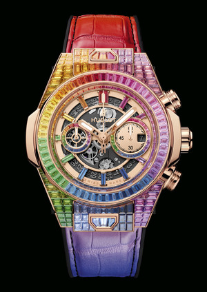 Фото №3 - Радужная новинка: Hublot представил часы Big Bang Unico Full Baguette Rainbow