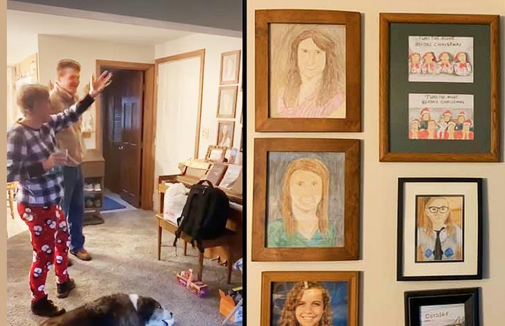 Фото №1 - Дочь каждый день подменяла по одному семейному фото неумелыми рисунками, а родители заметили это только на 11-й день