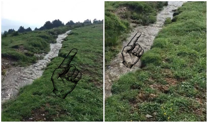 Фото №1 - Природная оптическая иллюзия: вода в ручье бежит вверх по холму (видео)