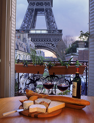 paris, balcony, cheese