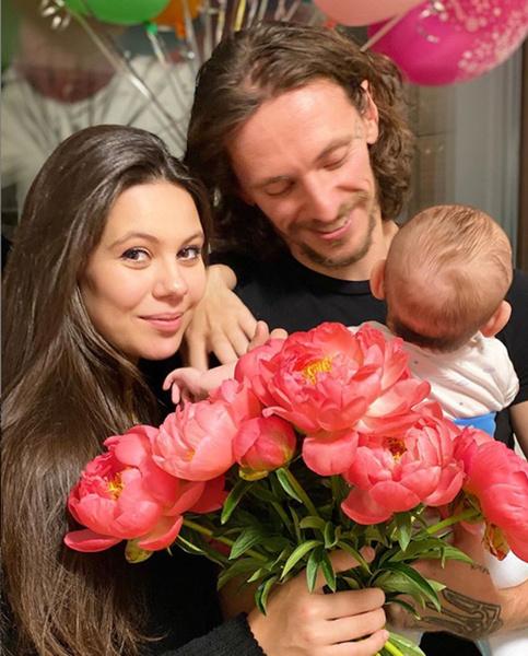 Сергей Полунин с сыном и женой