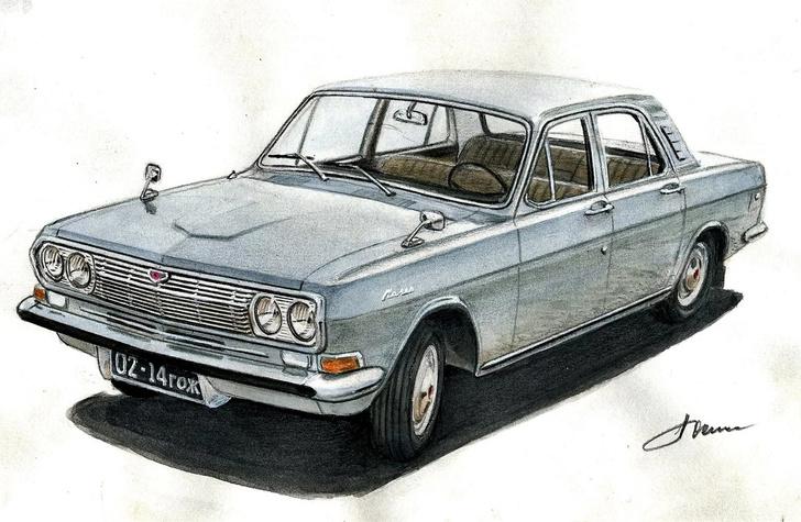 Эскиз, шестицилиндровой ГАЗ-24 работы главного дизайнера завода Николая Носакова