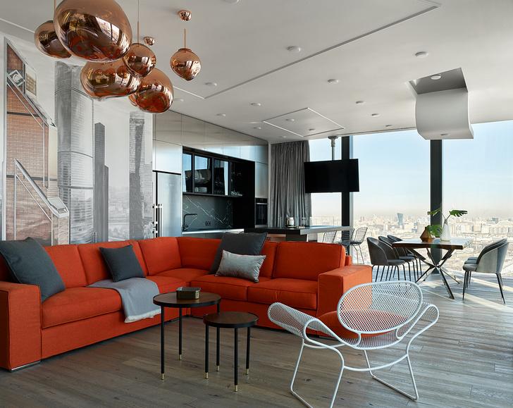 Фото №1 - Графичный интерьер апартаментов в Москва-Сити