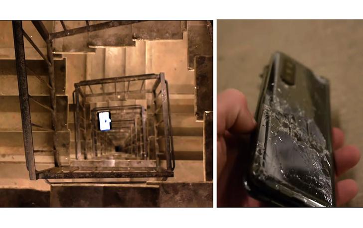 Фото №1 - Парень устроил тест на выживание iPhone 11, Galaxy Fold и Nokia 3310, сбросив их включенными в лестничный пролет (видео)