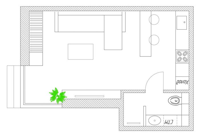 Фото №9 - Квартира-студия 33 м² с угловым окном в Геленджике