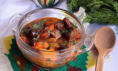 Суп с каштанами и сухофруктами
