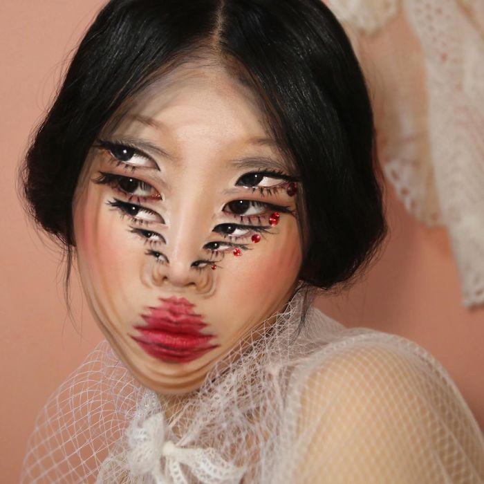 Фото №1 - Девушка делает оптические иллюзии у себя на лице (галерея)