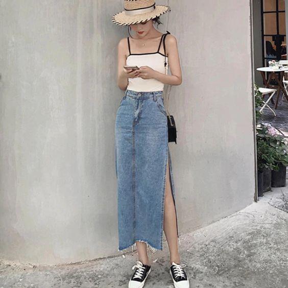 Фото №6 - С чем носить джинсовую юбку миди: 10 модных идей