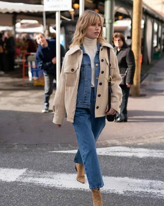 Фото №11 - Где купить точно такую же куртку-рубашку, как у Лили Коллинз, и еще 4 похожие альтернативы