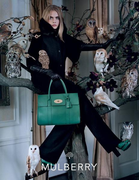 Кара Делевинь в рекламе осенней коллекции Mulberry