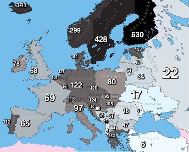 Фото №1 - Карта: количество метал-групп на один миллион жителей европейских стран и России
