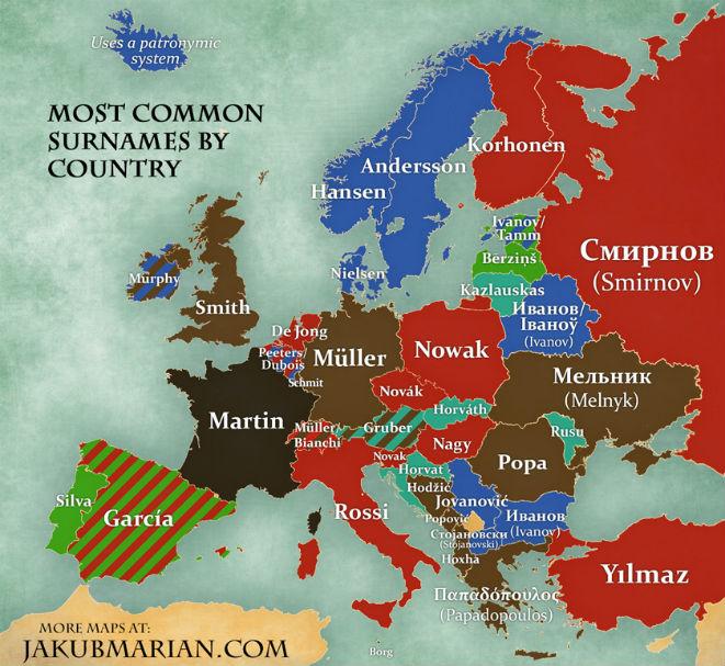 Фото №2 - Карта с самыми популярными фамилиями в каждой стране Европы