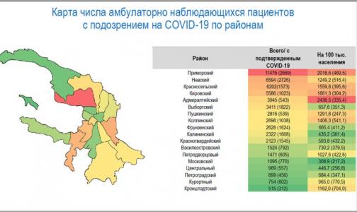 Фото №1 - Приморский район Петербурга остается лидером числу зараженных коронавирусом жителей