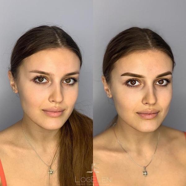 татуаж бровей до и после с растушевкой коррекция
