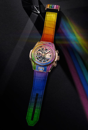 Фото №4 - Радужная новинка: Hublot представил часы Big Bang Unico Full Baguette Rainbow
