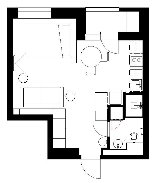 Фото №12 - Стильные апартаменты 31 м² для сдачи в аренду в Москве