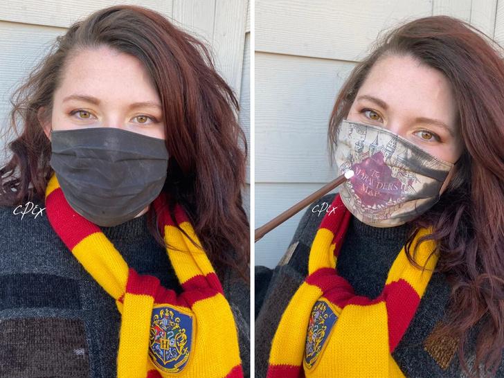Фото №1 - Художница сделала маску с картой мародеров из «Гарри Поттера»