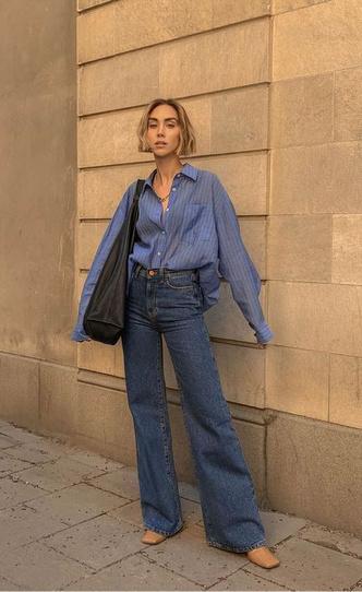 Фото №9 - С чем носить джинсы клеш: 12 модных идей на весну 2021