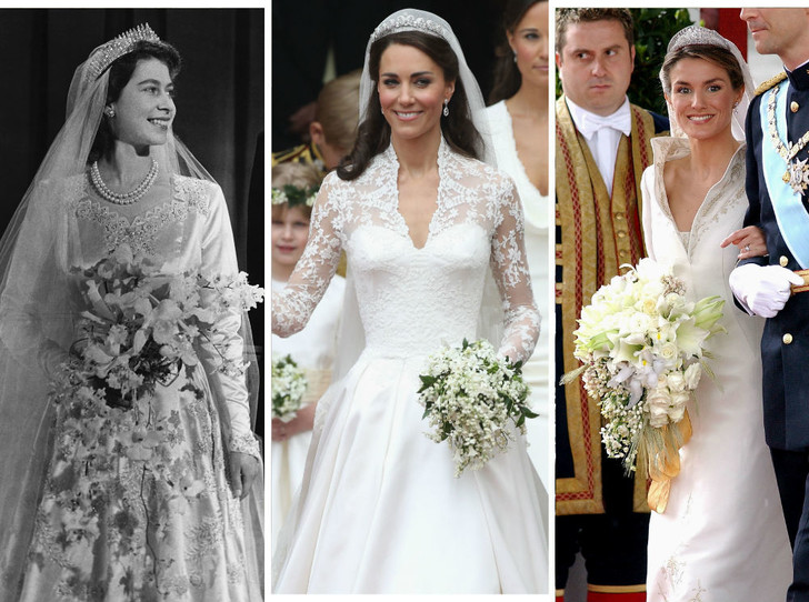 Фото №1 - От Елизаветы до Летиции: секретные детали свадебных платьев принцесс и герцогинь