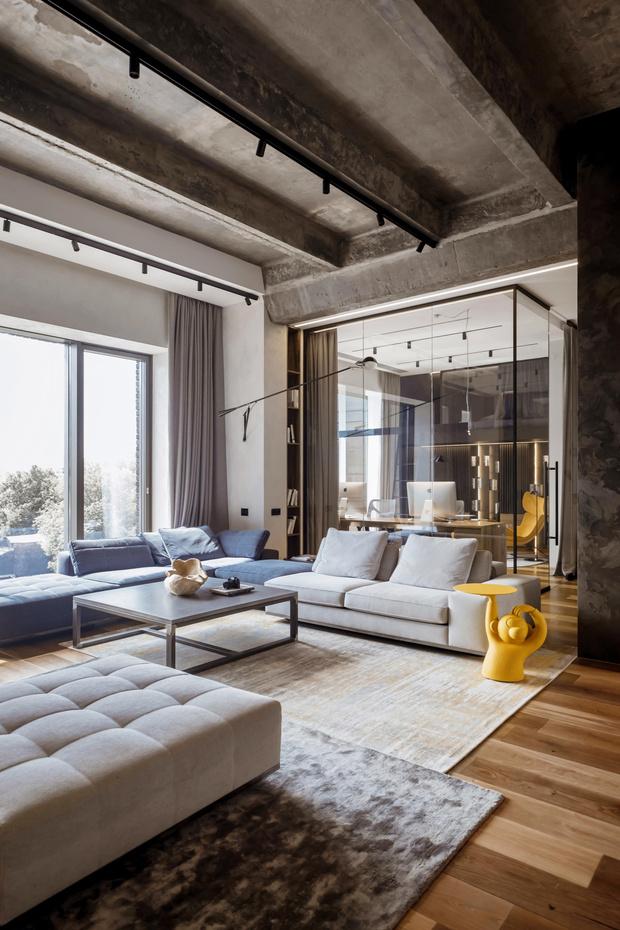 Фото №3 - Квартира 136 м² с бетонным потолком в Москве