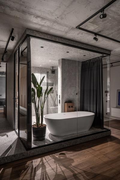 Фото №16 - Брутальная квартира 82 м² с ванной за стеклом