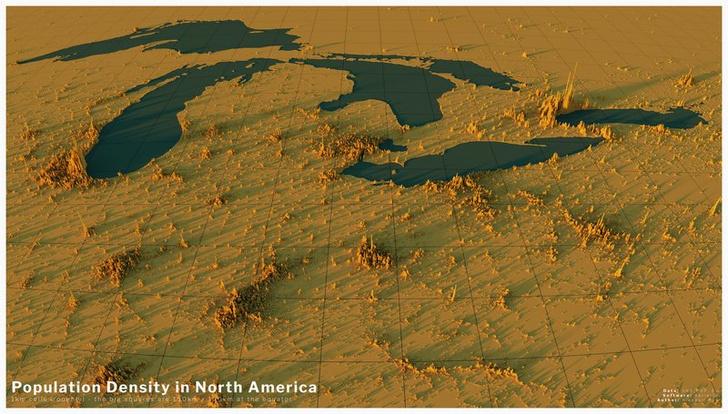 Фото №7 - Красивые трехмерные карты мира, показывающие распределение населения Земли