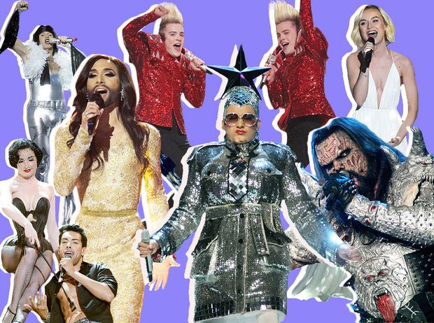 Фото №1 - Самые яркие (и странные) сценические наряды за всю историю Евровидения
