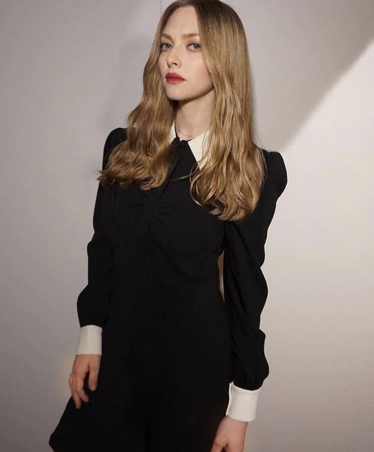 Фото №1 - Маленькое черное платье и белый воротничок: Аманда Сейфрид на презентации фильма Дэвида Финчера «Манк»