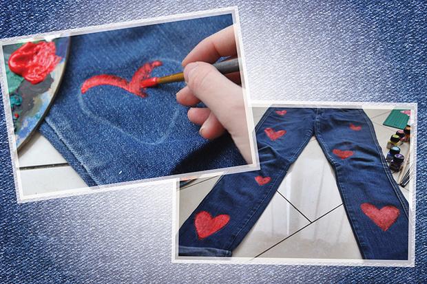 Фото №3 - Hand-made: Джинсы с сердечками