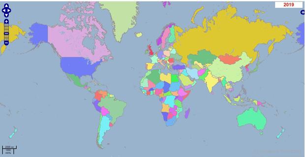 Например, это карта стран в 2019 году…